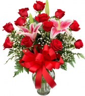 Classic Dozen Roses and Stargazers Vase Arrangement