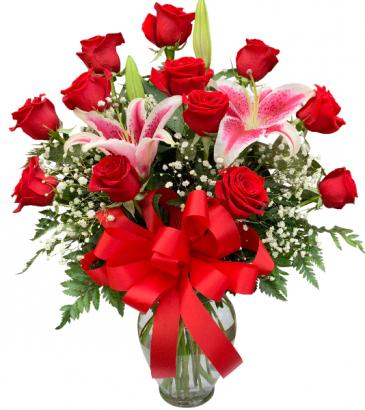 Classic Dozen Roses and Stargazers Vase Arrangement