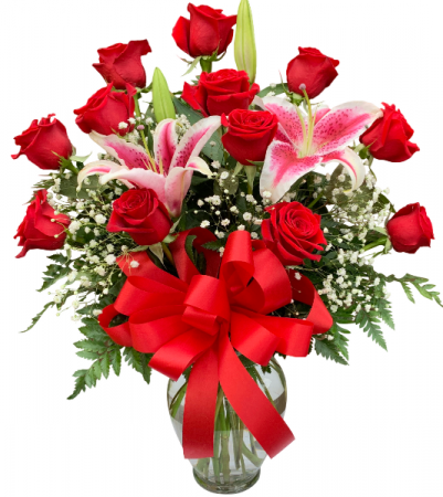 Red with Romance and Stargazers Rose Vase Arrangement