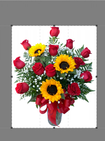 Red with Romance and Sunflowers Valentine Arrangement