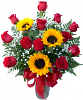 Red with Romance and Sunflowers Dozen Rose Vase Arrangement