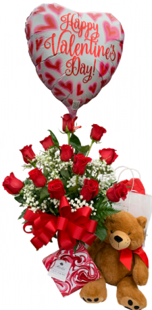 Red with Romance Gift Bundle Dozen Rose Vase in Seguin, TX | DIETZ FLOWER SHOP & TUXEDO RENTAL