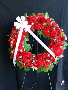 Red Wreath Sympathy Easel Spray