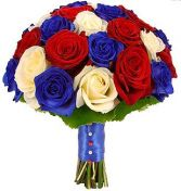 RED WHITE & BLUE ROSES BRIDAL BOUQUET
