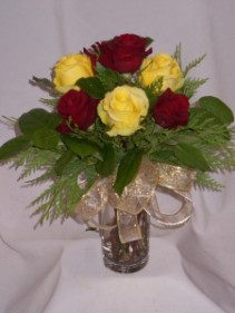 "RED & YELLOW VELVET ROSES  ""Roses & Gifts"" Prince George Roses   Flowers Prince George BC"