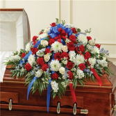 RED,WHITE, & BLUE HALF CASKET COVER