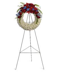 RED/WHITE CLUSTER WREATH STANDING FUNERAL PC