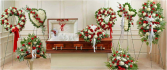 RED/WHITE FUNERAL PACKAGES 3PC OR 8PC WREATH, HEARTS, CROSS CASKET, PEDESTAL PCS