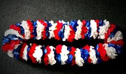 RED/WHITE/BLUE CARNATION LEI GRADUATION LEI