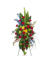 RED,YELLOW, AND GREEN TI LEAF STANDING SPRAY FUNERAL PC GOOD FOR FUNERAL AND MEMORIAL SERVICES
