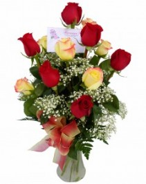 Red/Yellow Roses Vase Arrangement