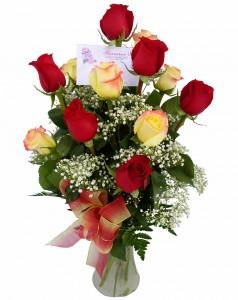 Red/Yellow Roses Vase Arrangement