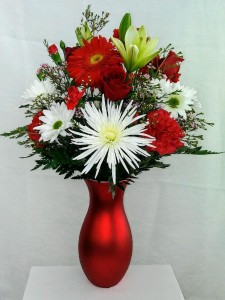 Reflection of Love Mixed Red and White Arrangement in a Red Ceramic Vase