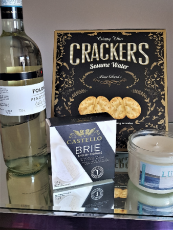REFLECTIONS IN A BOTTLE WHITE WINE, CANDLE, CHEESE & CRACKERS