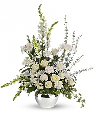 Reflections in White Funeral Flowers