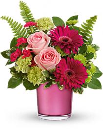 Regal Pink Cylinder  Flower Arrangement