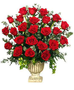 Regal Roses Urn Funeral Flowers in Galveston, TX | THE GALVESTON FLOWER COMPANY