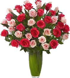 REMARKABLE 36 MIX ROSES ARRANGEMENT