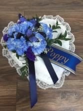Remembering with personalized ribbon Small Pillow arrangement