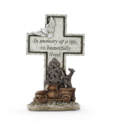 Remembrance Cross with Dog and Truck Sympathy stone