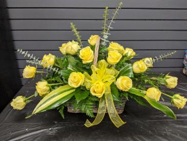 Remembrance in Roses Sympathy Basket