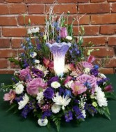 Remembrance Lamp with Floral Surround Sympathy