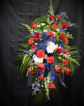 REMEMBRANCE SALUTE - RED, WHITE AND BLUE STANDING SPRAY