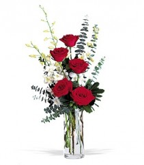 Red Roses and Orchids