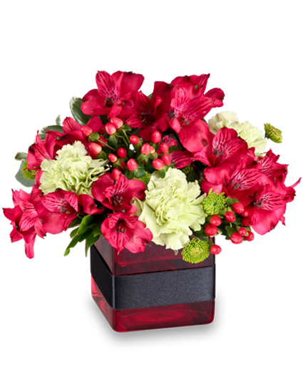 RESPLENDENT RED Floral Arrangment