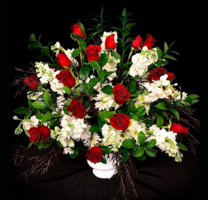Rest In Peace Red & White Design in Plainview, TX | Kan Del's Floral, Candles & Gifts