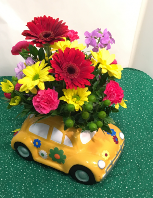 Retro Beetle  Car arrangement  in White Oak, PA | Breitinger's Flowers