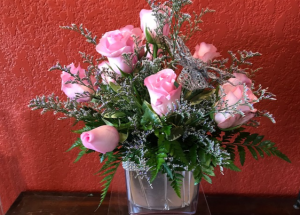 Rhinestones and Roses 6 or 12 roses in cube in Benbrook, TX | BENBROOK FLORAL LLC.