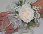Ribbon and rose corsage Corsage