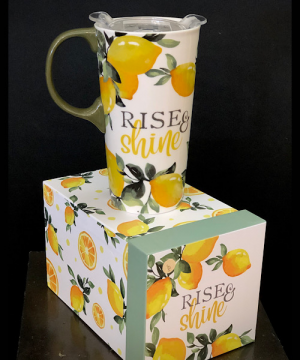 Rise and Shine Travel mug in Chesterfield, MO | ZENGEL FLOWERS AND GIFTS