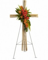 River Cane Cross Sympathy Arrangement