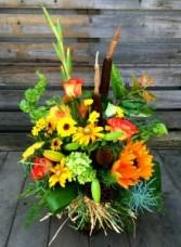 Riverside Cat-tails In Vase Arrangement