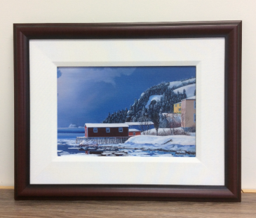 Rock Harbour Winter Ed Roche Framed Prints