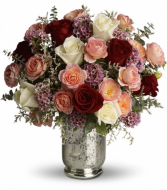 Romance mix, Assorted color Roses in Mercury Glass