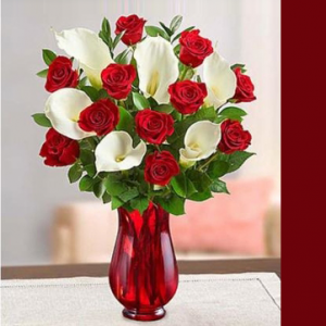 Romance the Calla Rose Arrangement  in Brentwood Bay, BC | PETALS N BUDS BRENTWOOD BAY FLORIST
