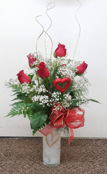 Romancing Love Rose Vase VASE ARRANGMENT (Local Delivery Only)