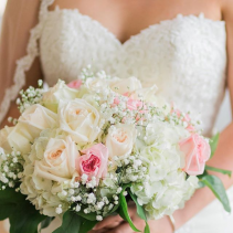 Romantic pink and cream bridal bouquet wedding flowers