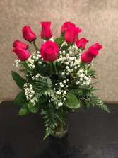 Romantic Red 1 Dozen Red Roses Arranged