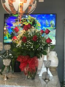 romantic red  classic Glass vase