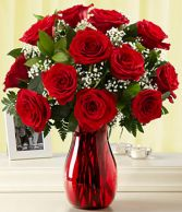 Romantic Red  One Dozen Premium Red Roses Arranged in a Ruby Red Vase