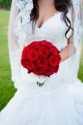 ROMANTIC RED ROSE BRIDAL  BOUQUET
