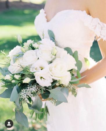 Romantic White hand tied Bouquet