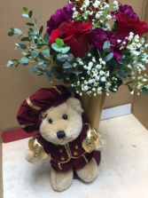 Romeo in love stuffed animal and roses and carnations