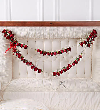 Rosary with Red Spray Roses