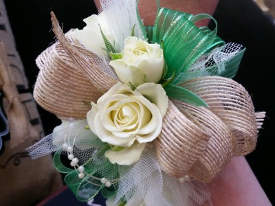Rose and Burlap Wrist Corsage