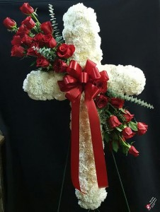 Rose and Carnation Cross  Standing Funeral Spray